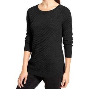 Athleta Black Honeycomb Merino Wool Sweater